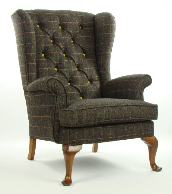 Vintage Parker Knoll Armchair Harris Tweed Wool By Justinadesign