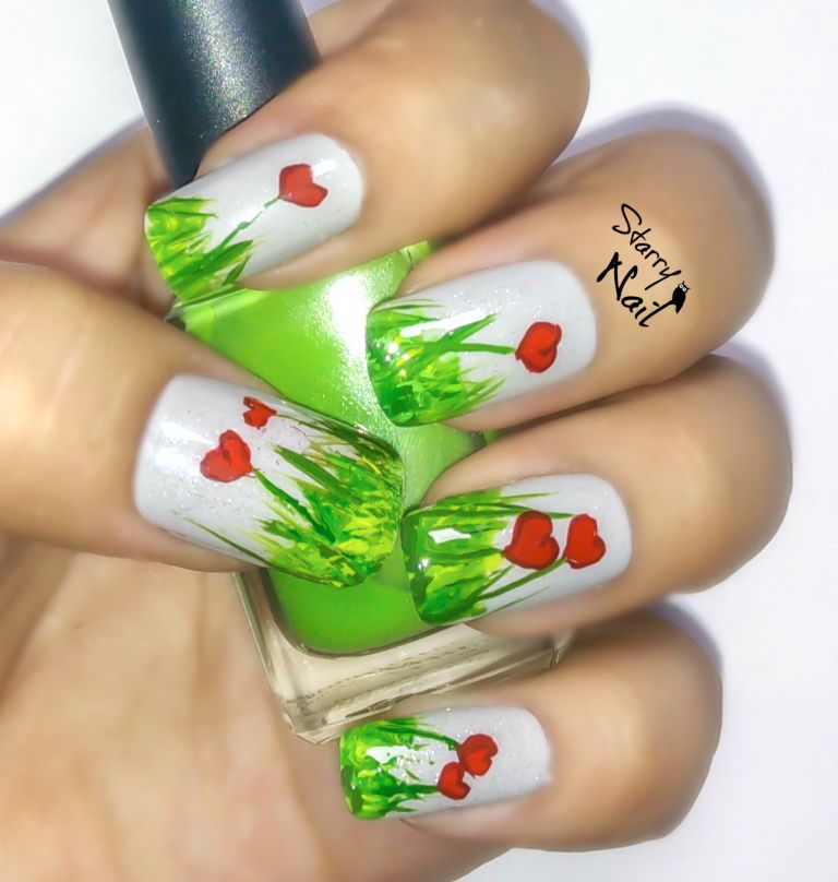 Easy Nail Art Tutorial for Beginners Cute Heart Flowers #nail #nails ...