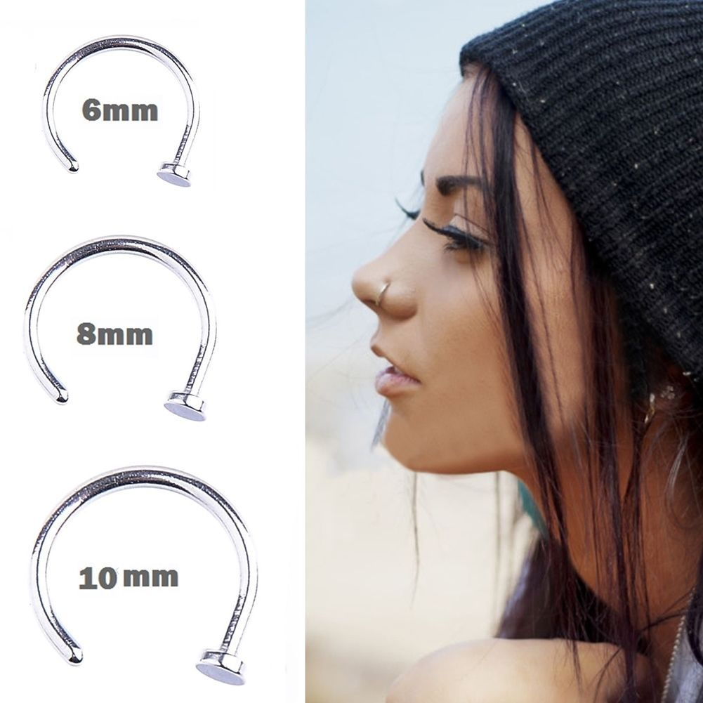 Nose piercing over 50  pcs Punk Clip On Fake Nose Open Hoop Ring Lip Earring Navel Ring