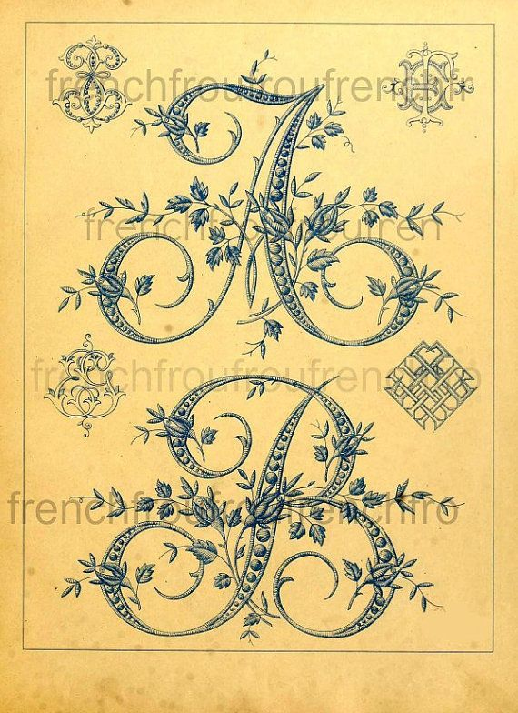 antique french embrodery alphabet letters initials