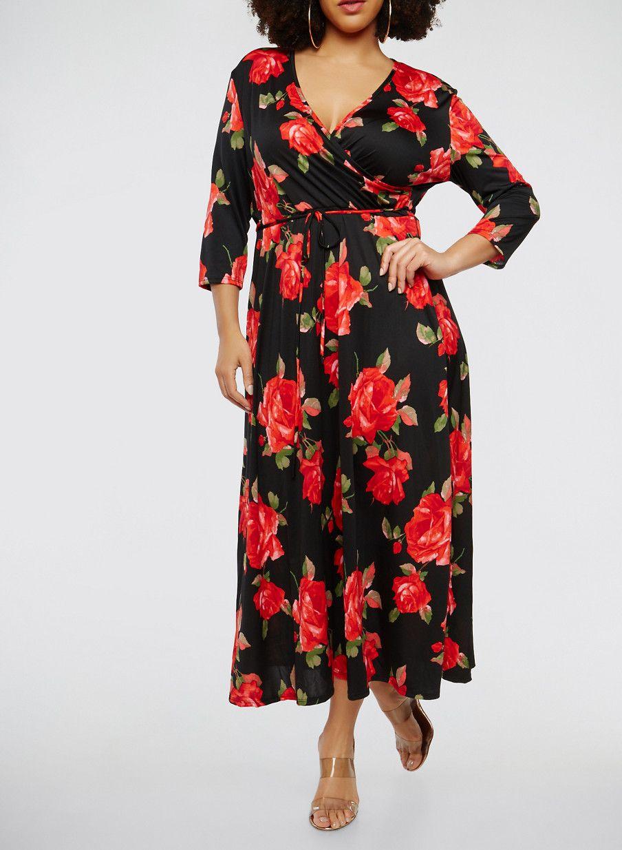 d2583f22d6f5 Plus Size Printed Faux Wrap Maxi Dress