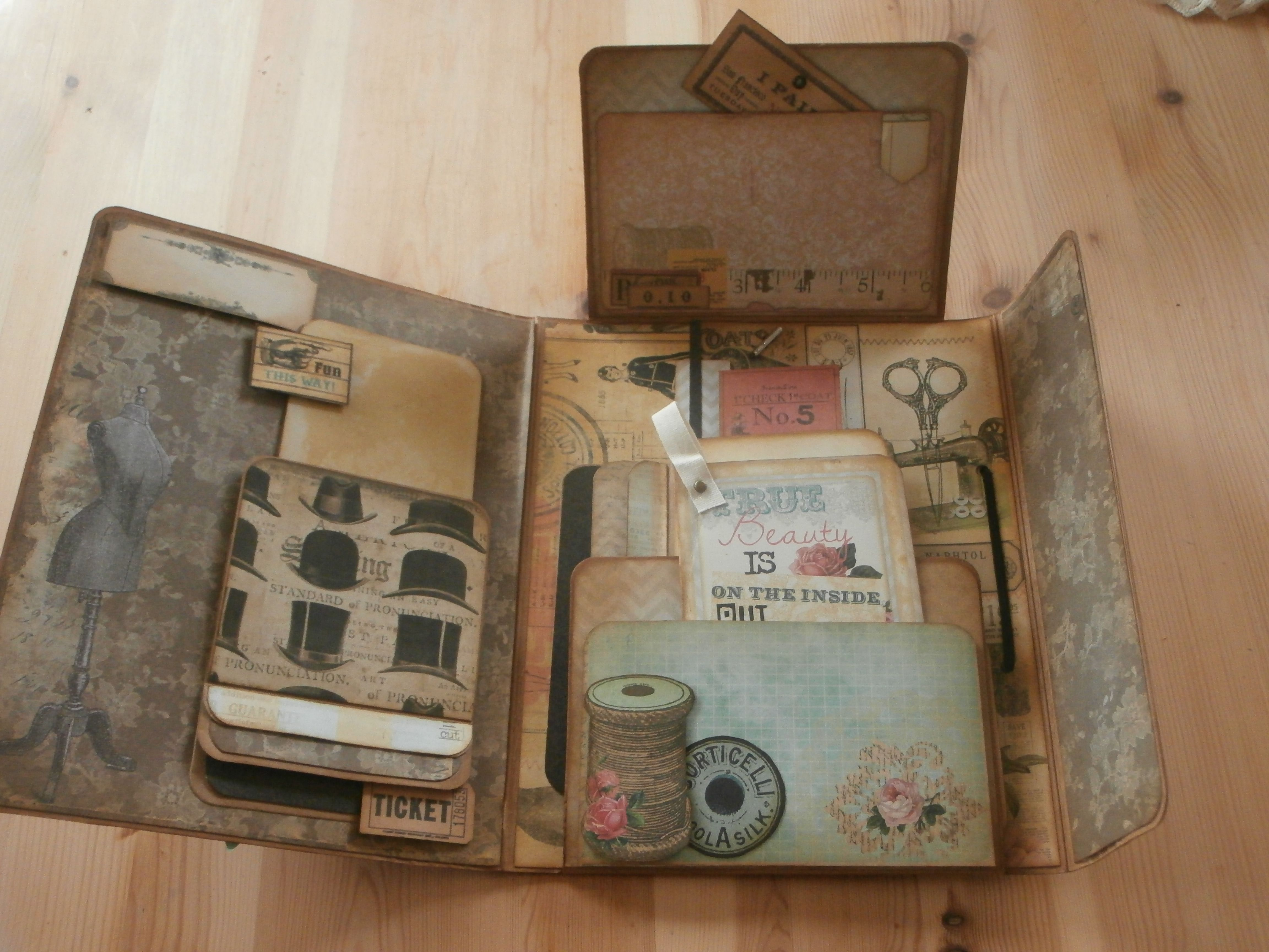 Scrapbook ideas abc album - My Decorated Tim Holtz Folio Inside Pages Using Marion Smith Garment District Papers