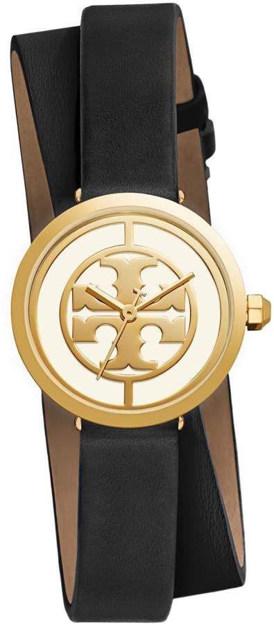 6f77542ad Tory Burch REVA DOUBLE-WRAP WATCH, BLACK LEATHER/GOLD-TONE, 28 MM ...