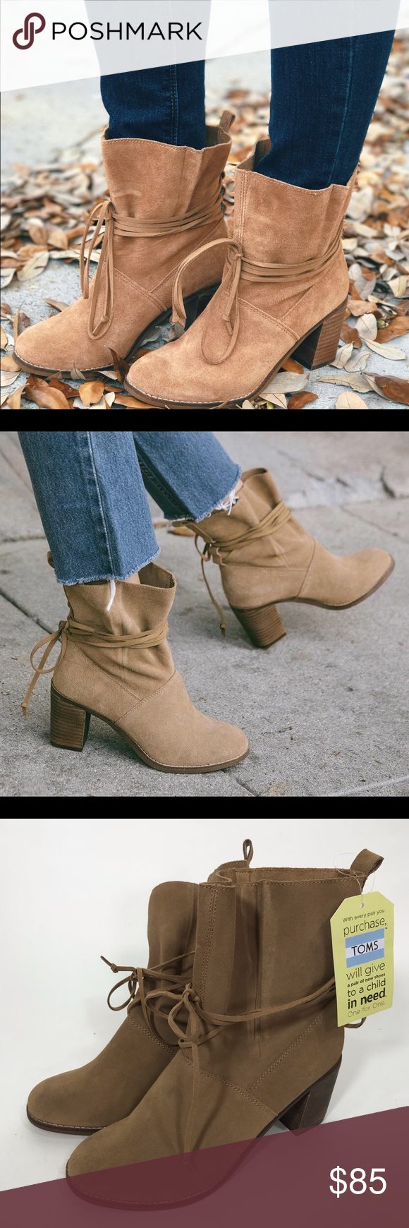 459d23089d2a ... Toffee Suede wrap tie booties block These are new with tags but no box.  However