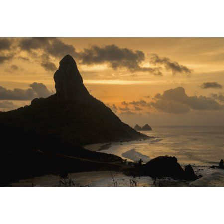 Brazil Pernambuco View of Morro do Pico at sunset from Forte dos Remedios Fernando de Noronha Canvas Art - Dosfotos Design Pics (19 x 12)