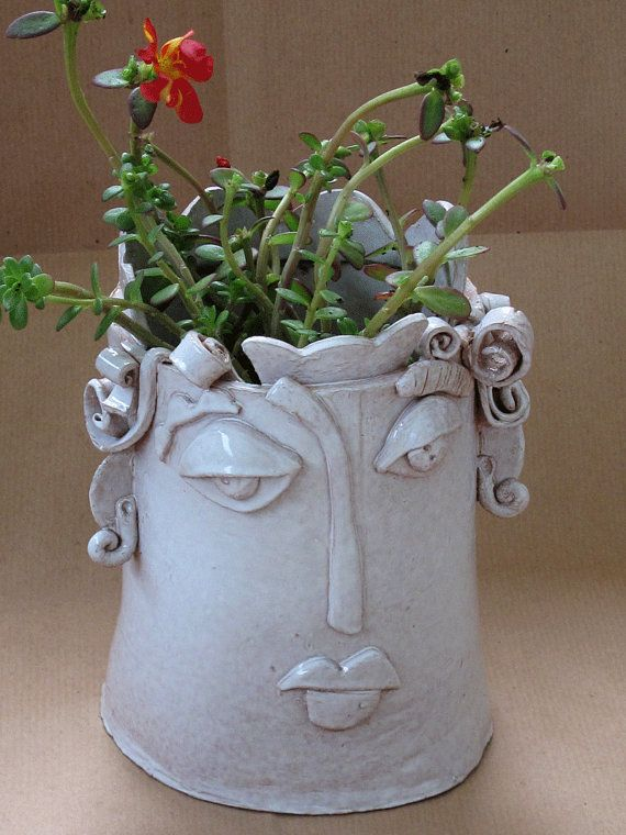 Ceramic Vase Face White Clay Sculpture By Terrediluna On