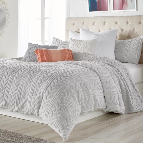 Madilynn Cable Knit Sherpa Comforter Set Bedroom