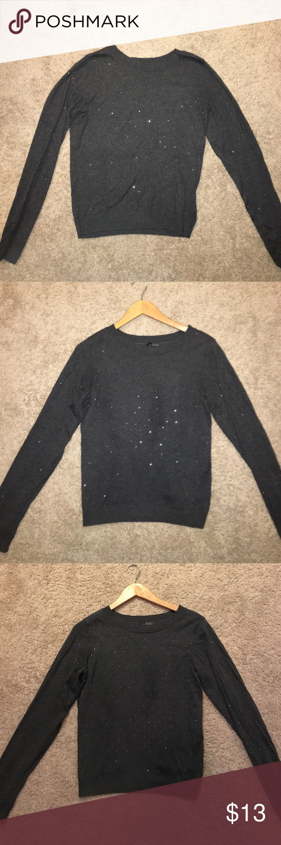 ⭐️ Super Sparkle Sweater from The Limited ⭐️ XS 💟 This Gem is a Dark Gray Sweater from The Limited and has been worn only once!! The front and the sleeves are covered in sparkling gems 💎 making it an elegant piece!! Able to be worn with jeans as a snazzy every day outfit, or it can be super dressy, worn with slacks or a skirt for a business interview, a classy job or a night on the town!!! *The picture does this beauty no justice* This shirt is a one of a kind as The Limited had gone out…