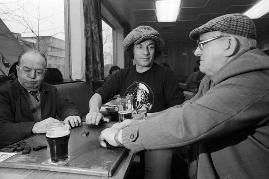 Brian Johnson of AC/DC playing dominoes in a pub with his dad Alan and a buddy