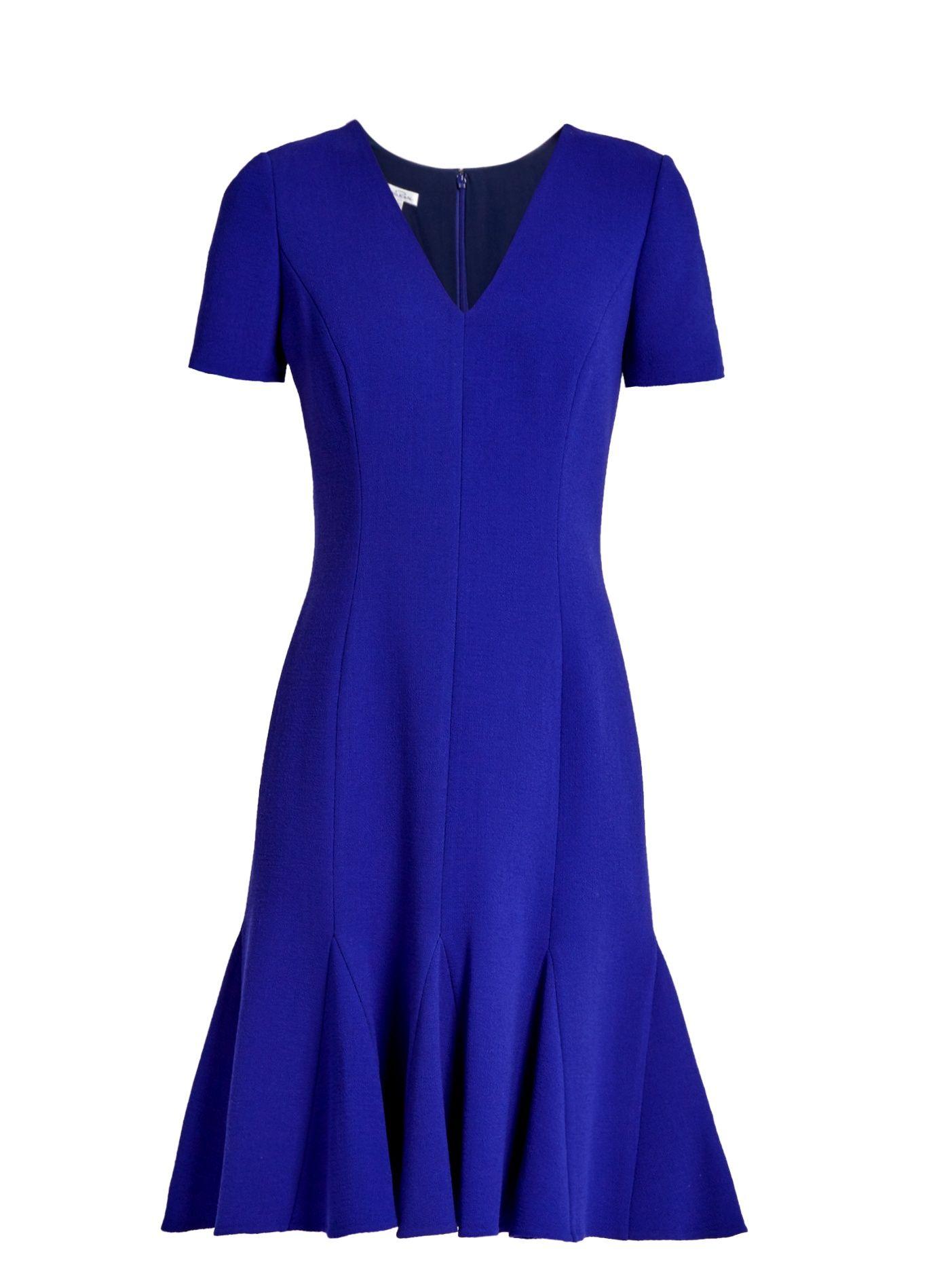 Flared-hem wool-blend crepe dress | Oscar De La Renta ...