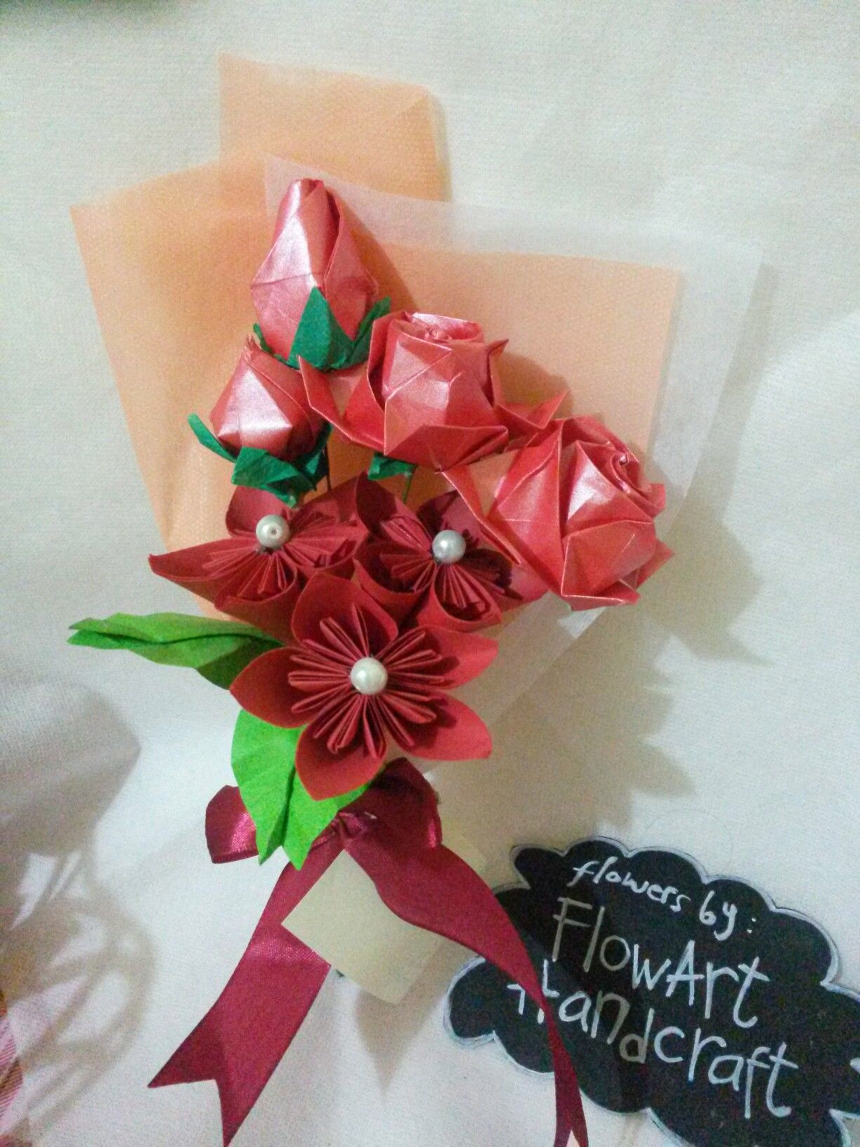 Red Origami Bouquet Origami Flowers Pinterest Origami Bouquet