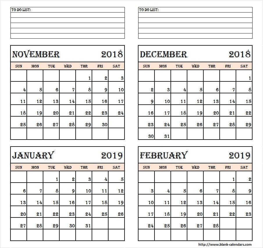 picture about 4 Month Calendar Printable referred to as 4 Thirty day period Calendar November December 2018 January February