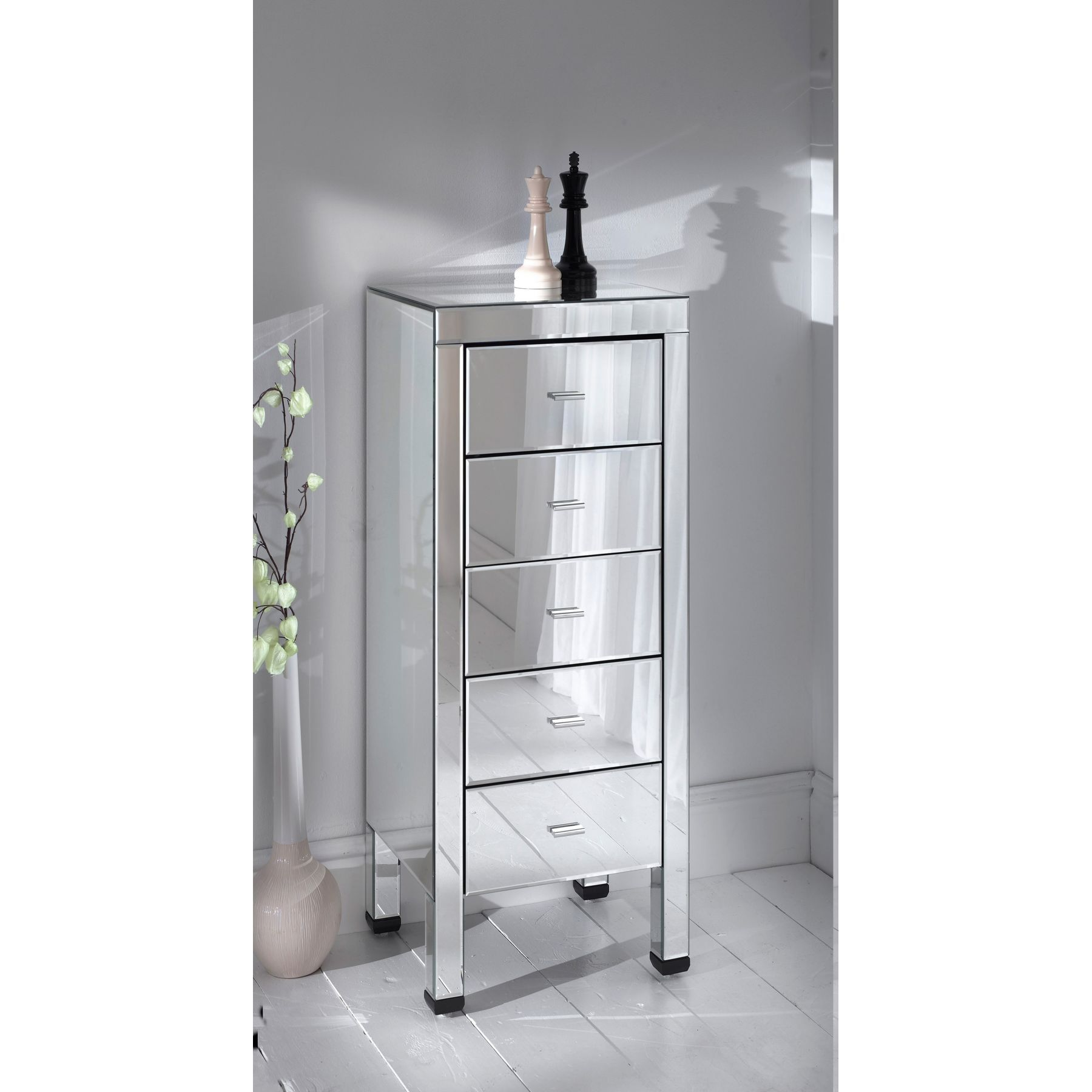 Romano Small 5 Drawer Mirrored Chest Mirrored Bedroom