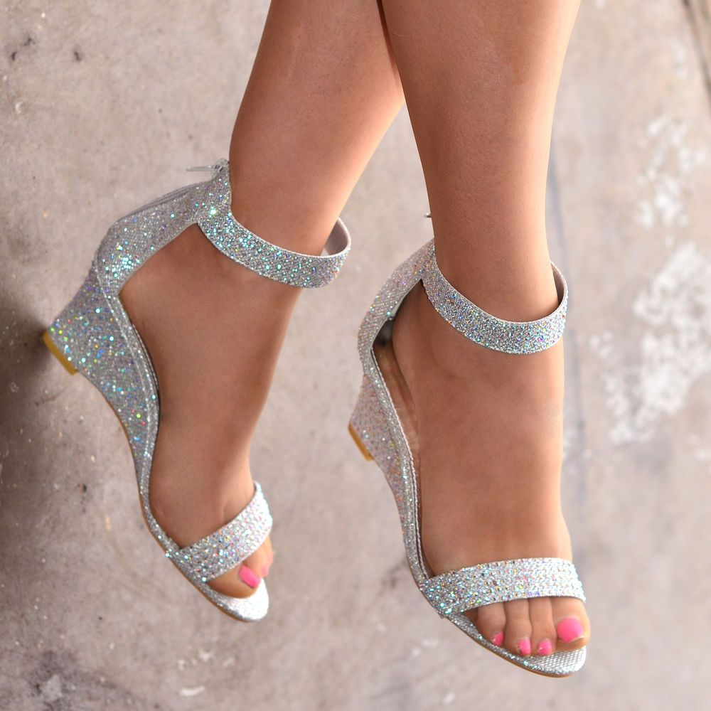 New Ladies Sparkly Ankle Strap Wedges Mid Heel Evening Diamante Shoes H20261 In Clothes Shoes Accesso Homecoming Shoes Wedge Wedding Shoes Quinceanera Shoes