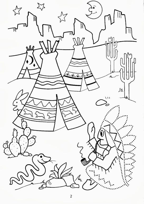 native american coloring pages for preschool | schrijfpatroon kleuters, thema indianen, free printable ...