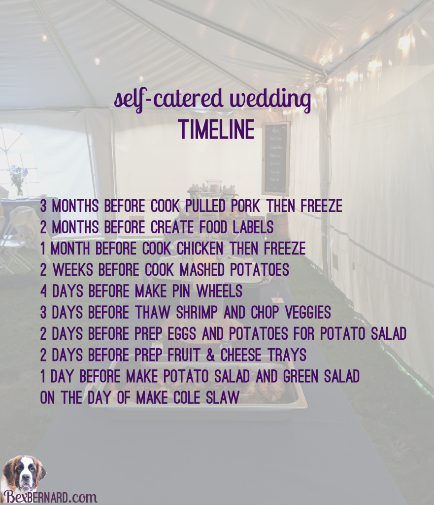 How To Self Cater Your Wedding Catering Timeline And Quanies For 225 Guests Catered Saves Money Bexbernard