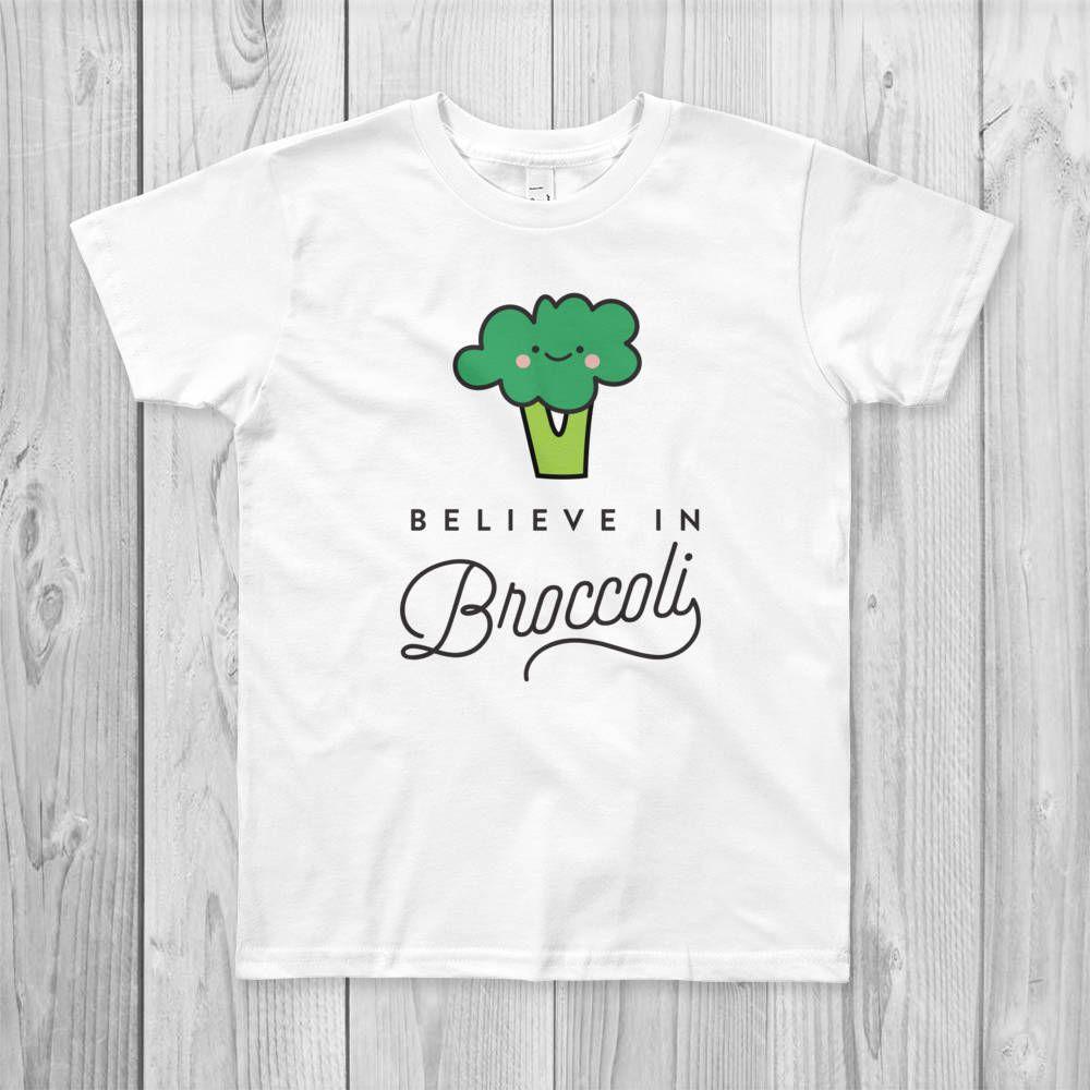 644b7ebdc Believe in Broccoli Kids T-Shirt, Vegan, Vegetarian, Shirt, Plant-Based  Clothing, Foodie, Healthy, Vegetables, Cute, Kawaii, Funny