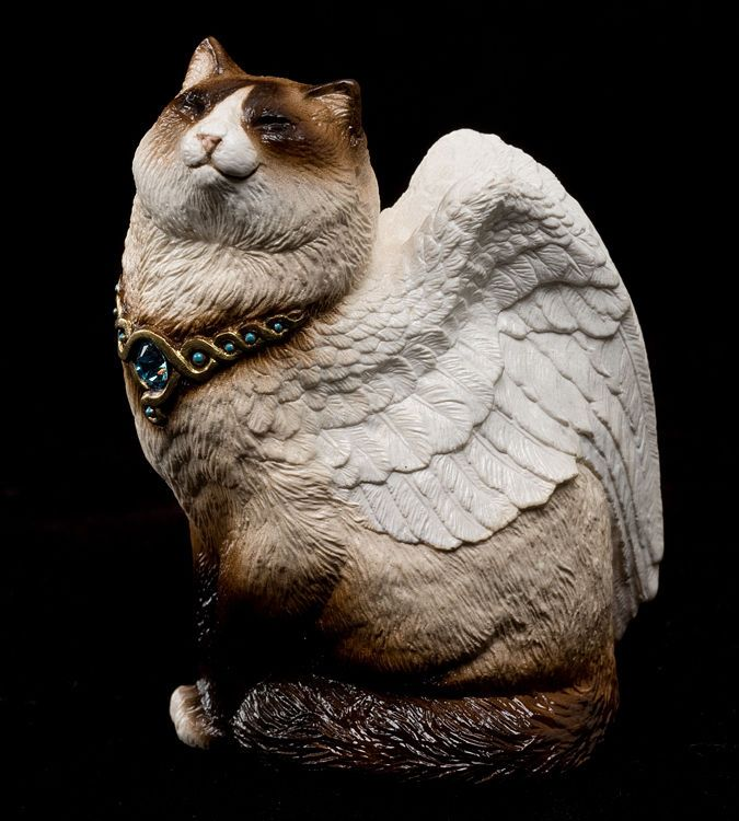 """WINDSTONE BROWN & WHITE SIAMESE """"BIRMAN"""" SMALL BIRD WINGED CAT FIGURINE, STATUE"""