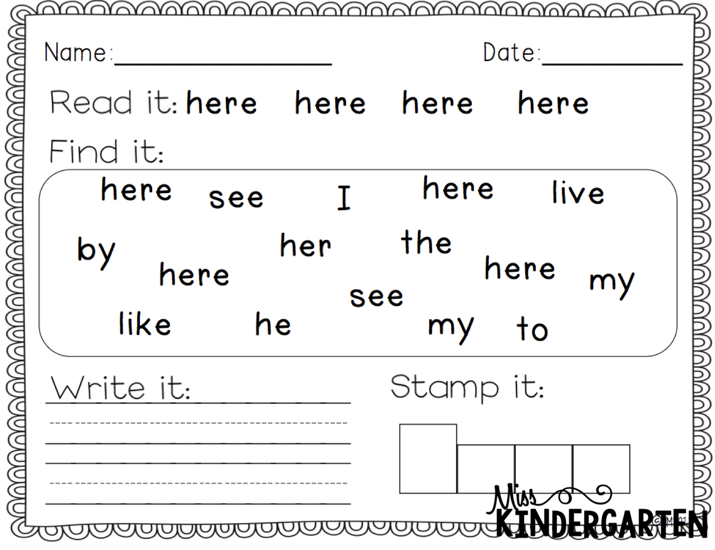 Free Sight Word Practice For Kindergarten
