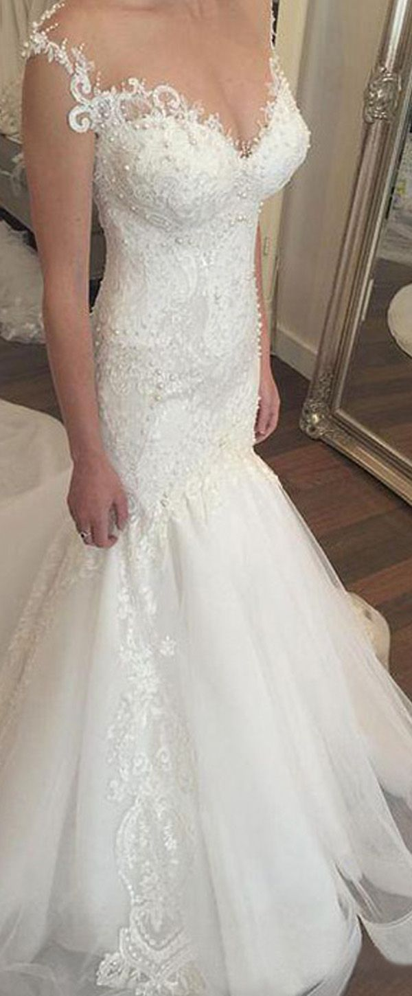 Fabulous Tulle & Satin Bateau Neckline Mermaid Wedding Dresses With Beaded Lace Appliques