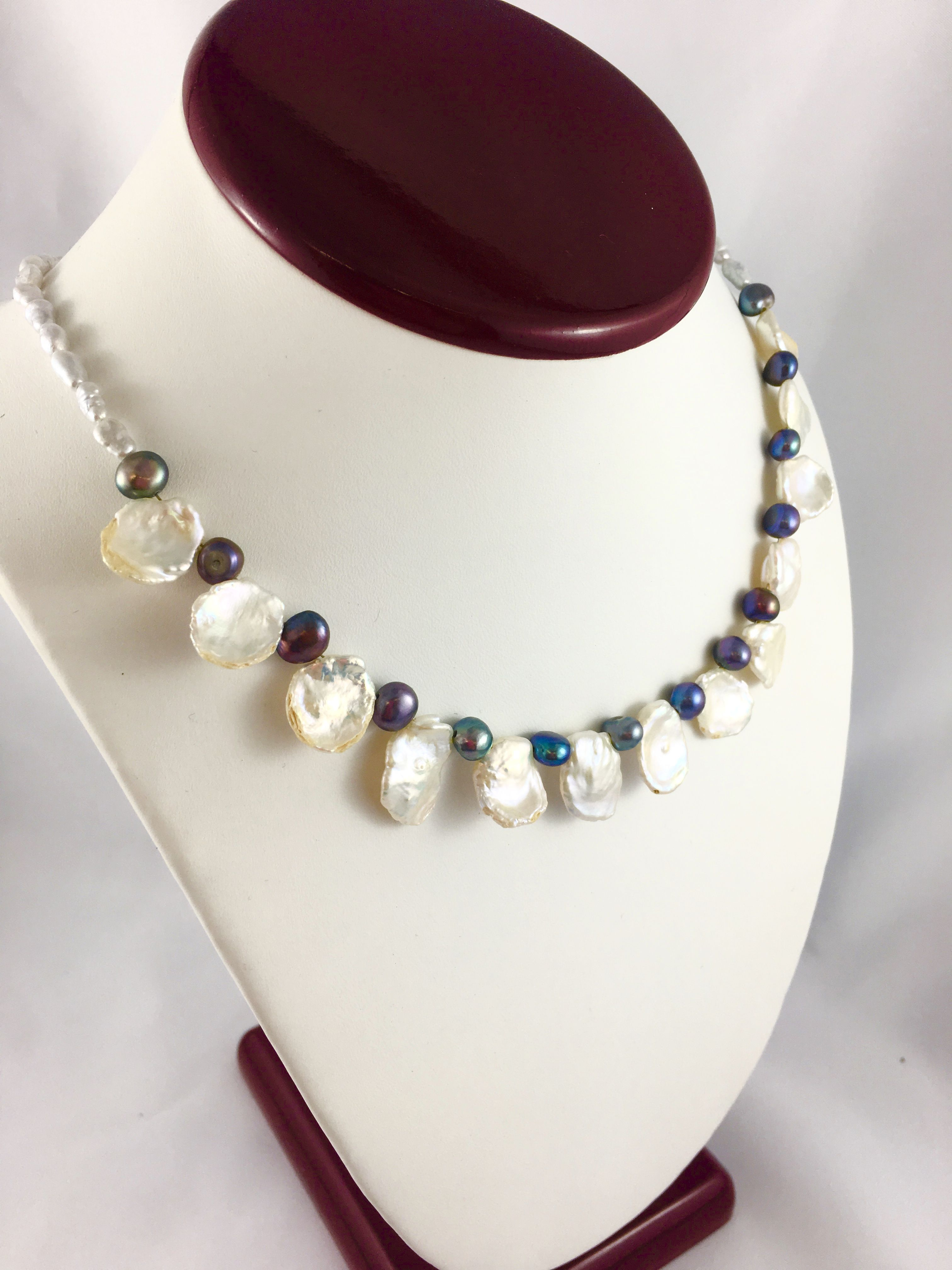 Fresh Water Cultured Pearl Petal Necklace Cultured Pearls Pearls Beaded Necklace