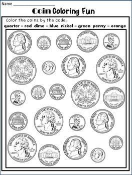 Coin identification worksheet first grade
