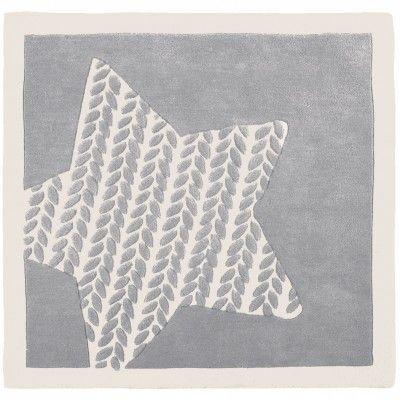 tapis en laine gris et blanc poudre d 39 toiles 120 x 120. Black Bedroom Furniture Sets. Home Design Ideas