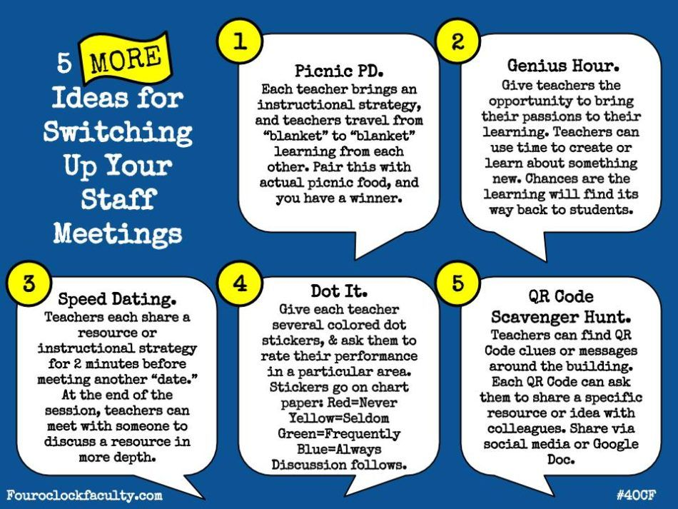 5 MORE Ideas to Switch Up Staff Meetings u2013 4 Ou0027Clock Faculty - staff meeting agenda