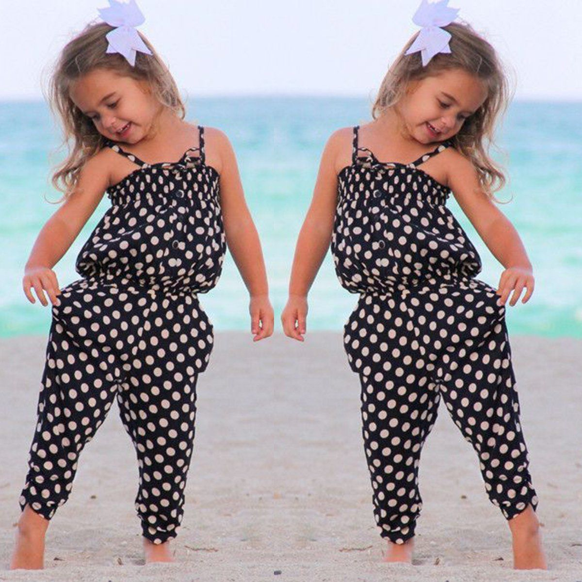 dc3c7e6d821d  4.59 - Kids Baby Girls Summer Strap Romper Jumpsuit Harem Pants ...