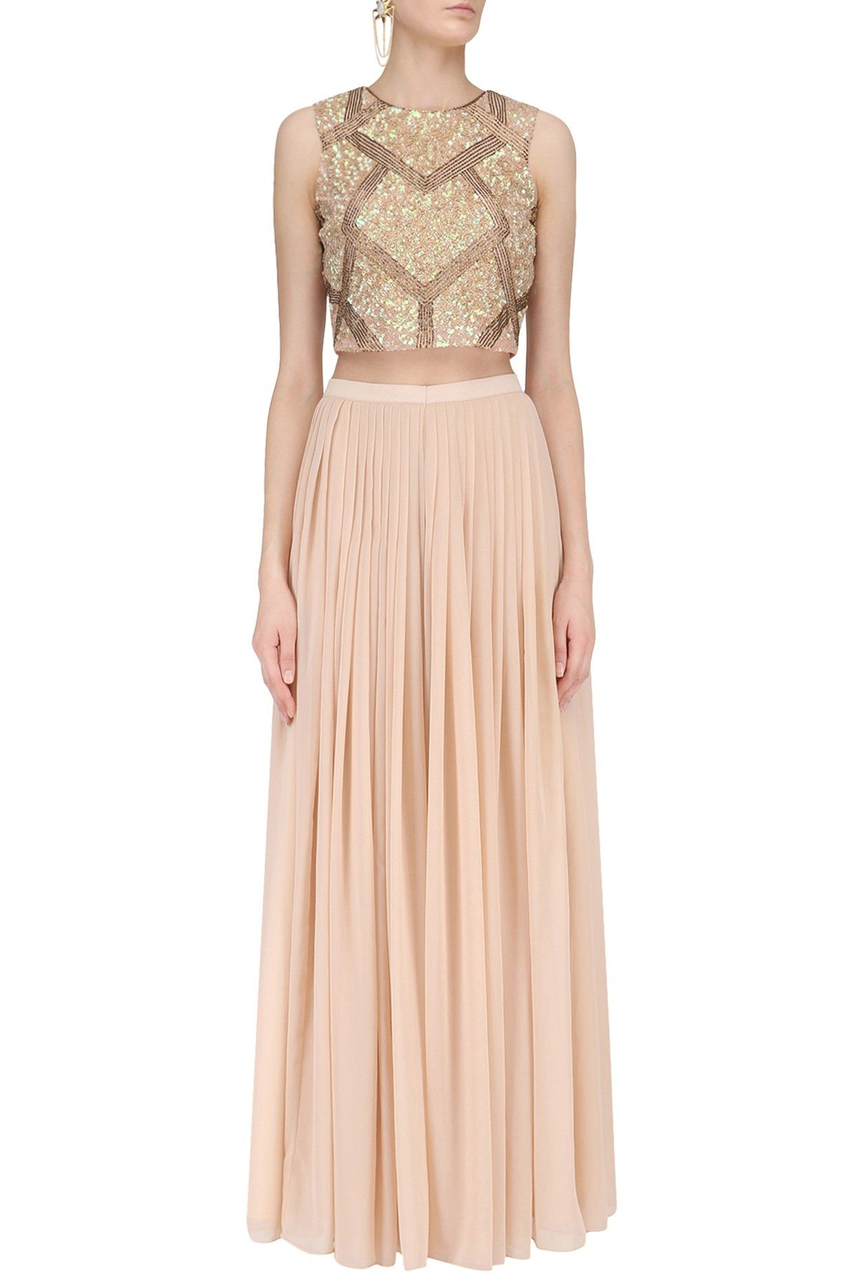c9aca751442fb RUHMAHSA Peach Sequins Embroidered Crop Top with Palazzo Pants  Georgette   ethnic  traditional  pernia  perniaspopupshop  ethnicwear  indianwear   shopnow   ...