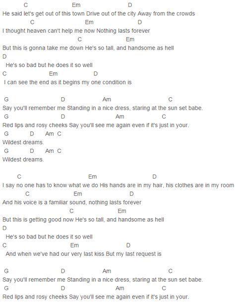 1989, Taylor Swift Wildest Dreams Chords Lyrics for Guitar Ukulele ...