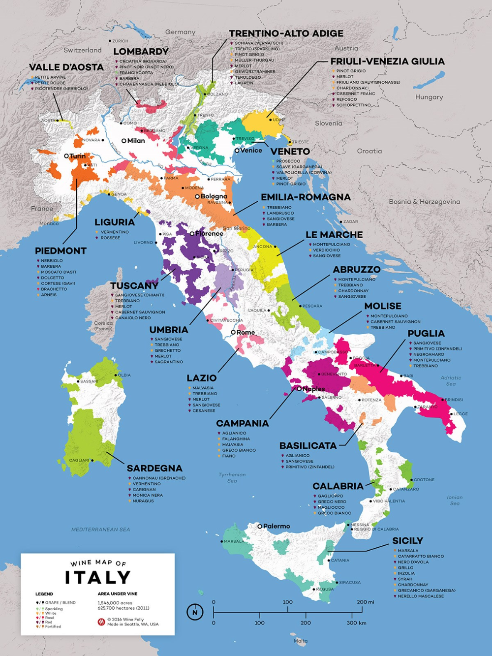 Vins Italiens La Carte Des Crus Region Par Region Vin Italien Carte Des Vins Vins