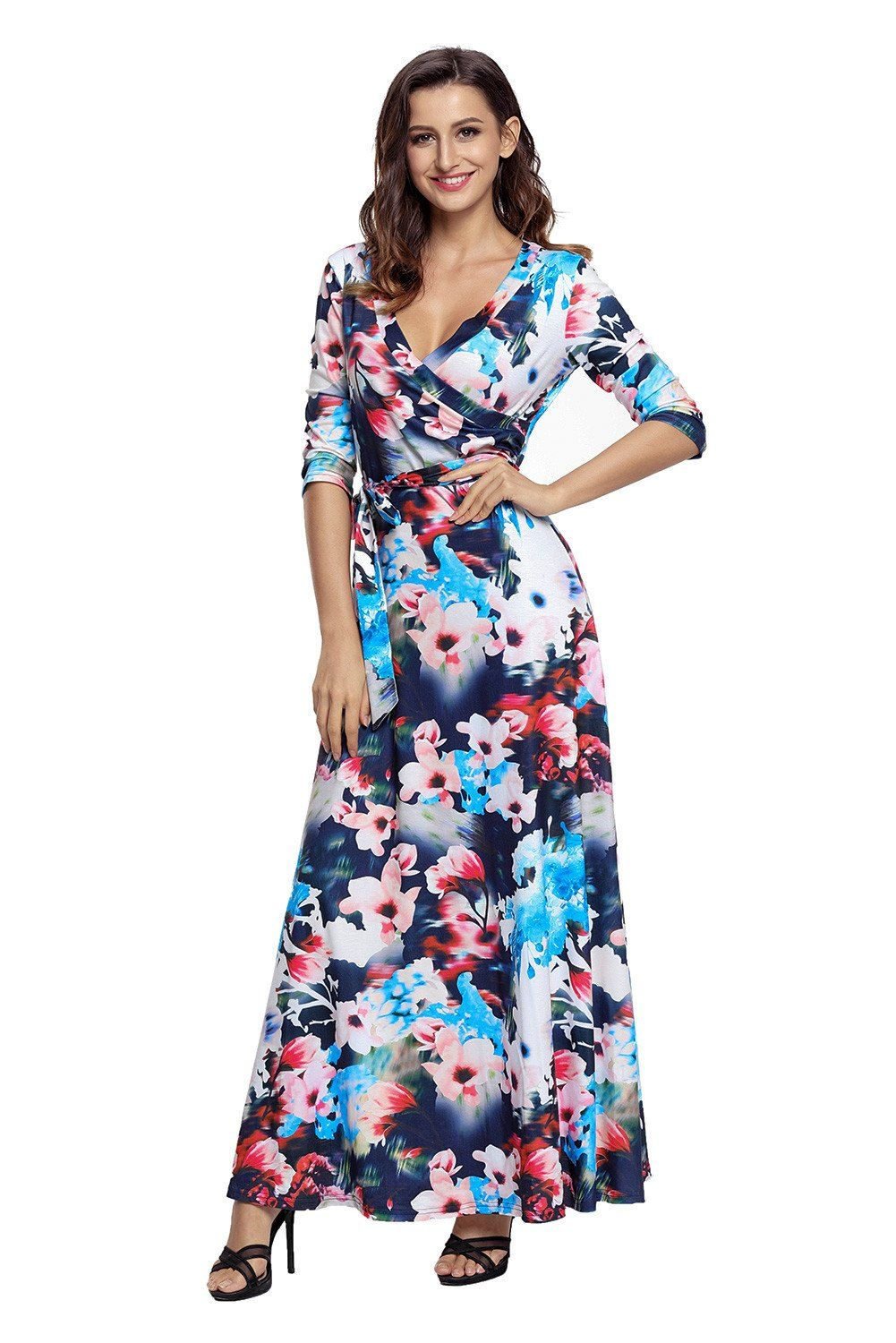 fb25e4c2a625 The Floral Print Wrapped Long Boho Dress is beauty in motion. An amazing  stunning dress that is perfect anytime day or night! Soft jersey fabric  with ...