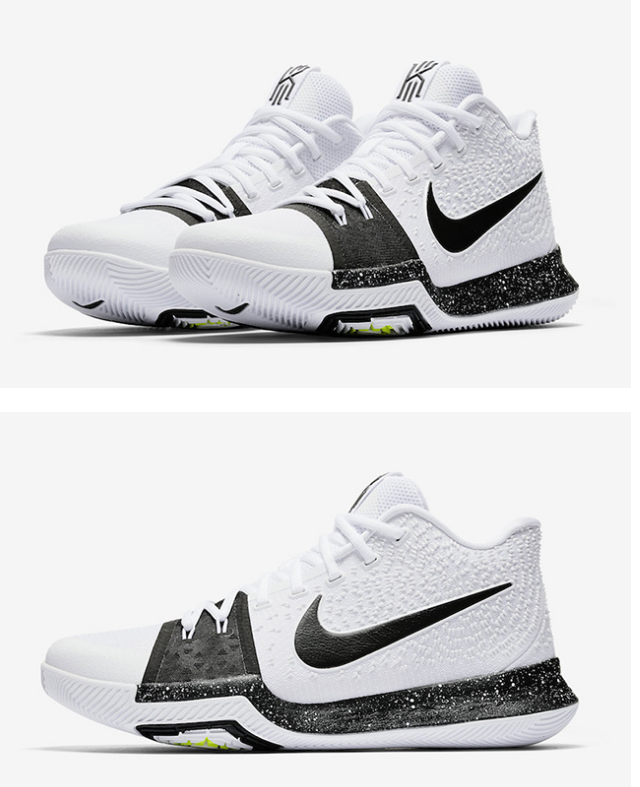 bd2bdf51a54e NIKE KYRIE 3 COOKIES WHITE BLACK VOLT BASKETBALL SHOES 917724 100  nike   nikeoutfits