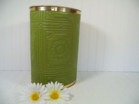 Vintage Groovy Avocado Green Textured Vinyl Upholstery Oval Metal Waste Bin - Mid Century Retro Olive Color Daisy Design Trash Can Decor $32.00