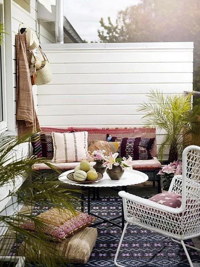 38 Beautiful Balcony Decoration Ideas To Make Your Dream Comfortable Balcony Decor Patio Set With Umbrella Patio Furniture Sets
