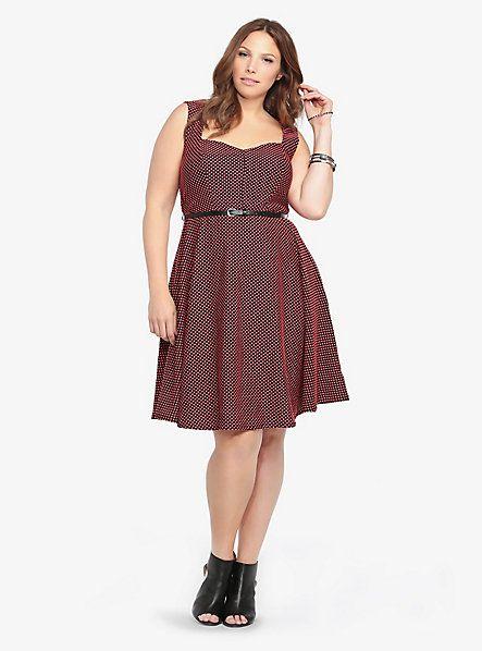 Jacquard Polka Dot Belted Skater Dress | Torrid