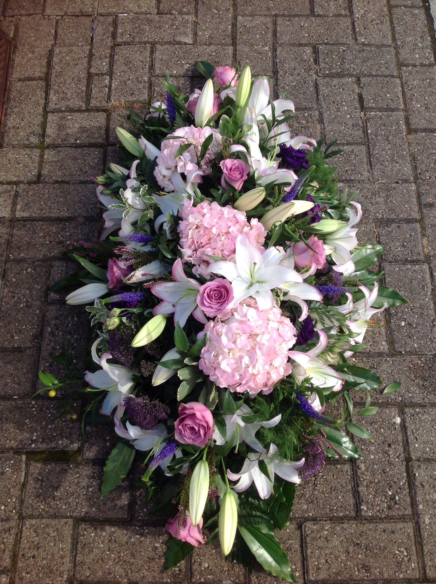Casket Spray With Pink Hydrangeas Roses And Lilies Moms Funeral