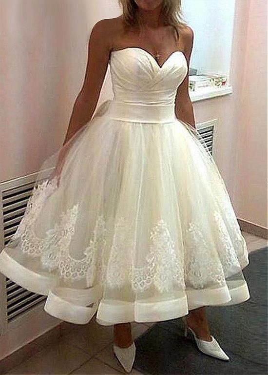 1383d8186e Amazing Satin Sweetheart Neckline Tea-length Ball Gown Wedding Dresses With  Lace Appliques