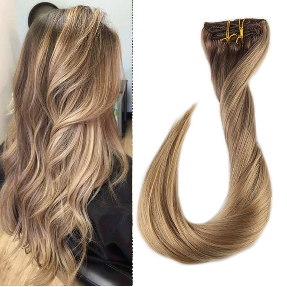 Thick Hair Extensions Double Weft Clip In Human Hair Dip Dyed