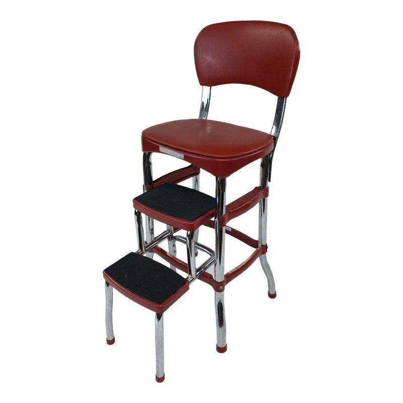 Peachy Vintage Red Metal Vinyl Cosco Step Stool Products Inzonedesignstudio Interior Chair Design Inzonedesignstudiocom
