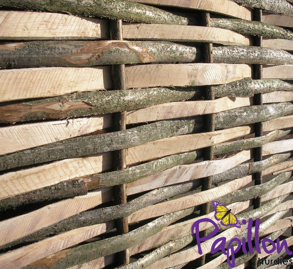 woven wooden split hazel hurdle fence panel 6ft natural garden
