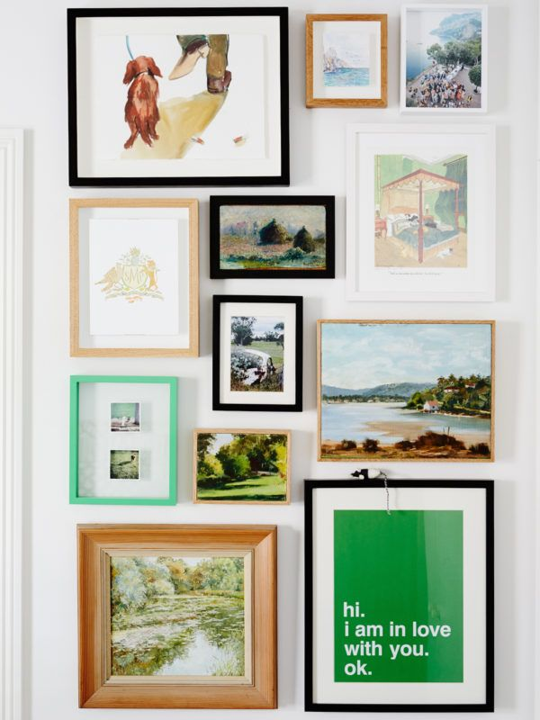 small art wall with green accents | design files via coco kelley