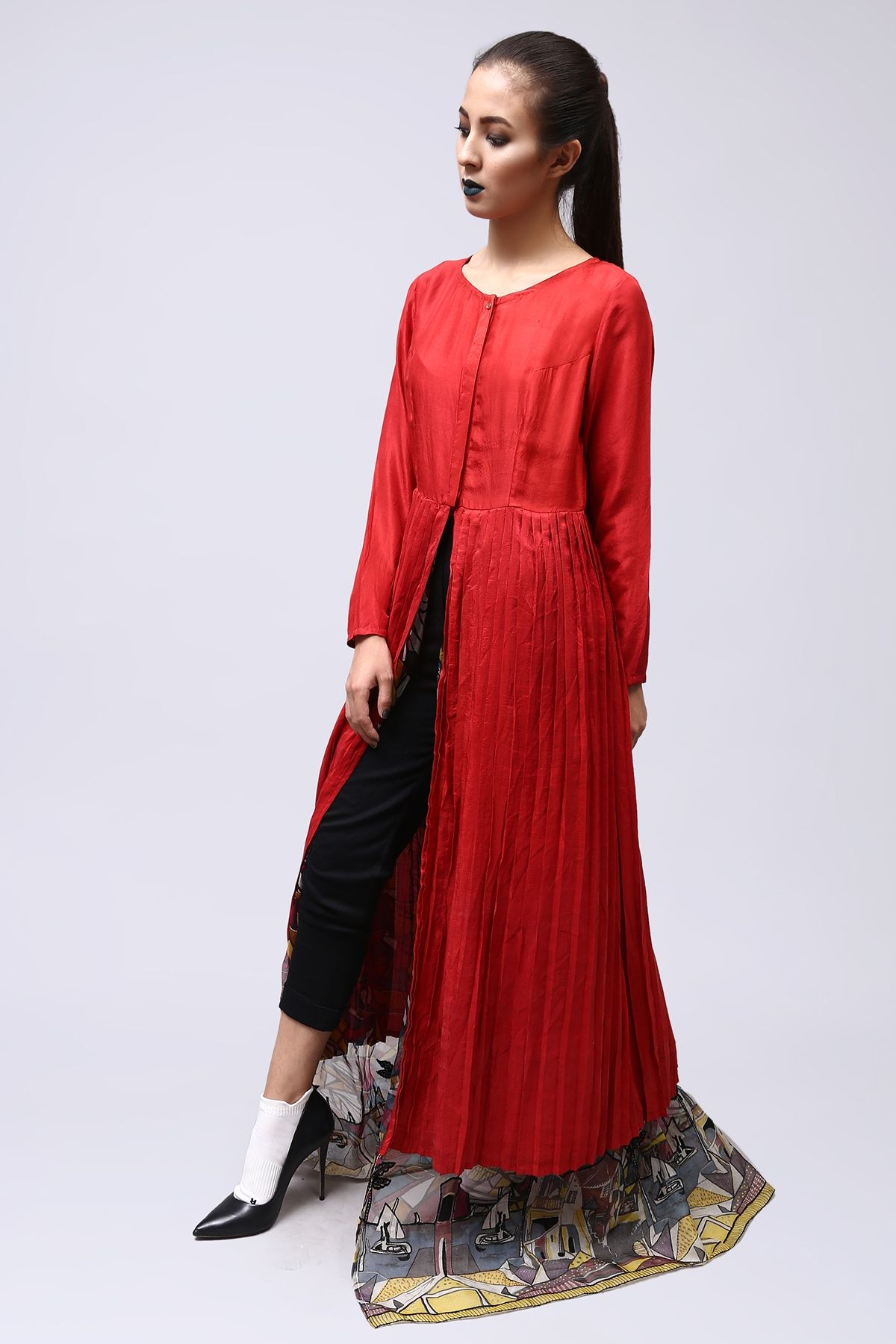 Silk and organza red long pret by generation party dresses
