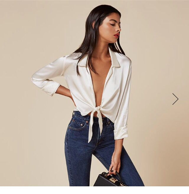 6420c85857ad7 Dark wash high rise jeans and ivory silk shirt