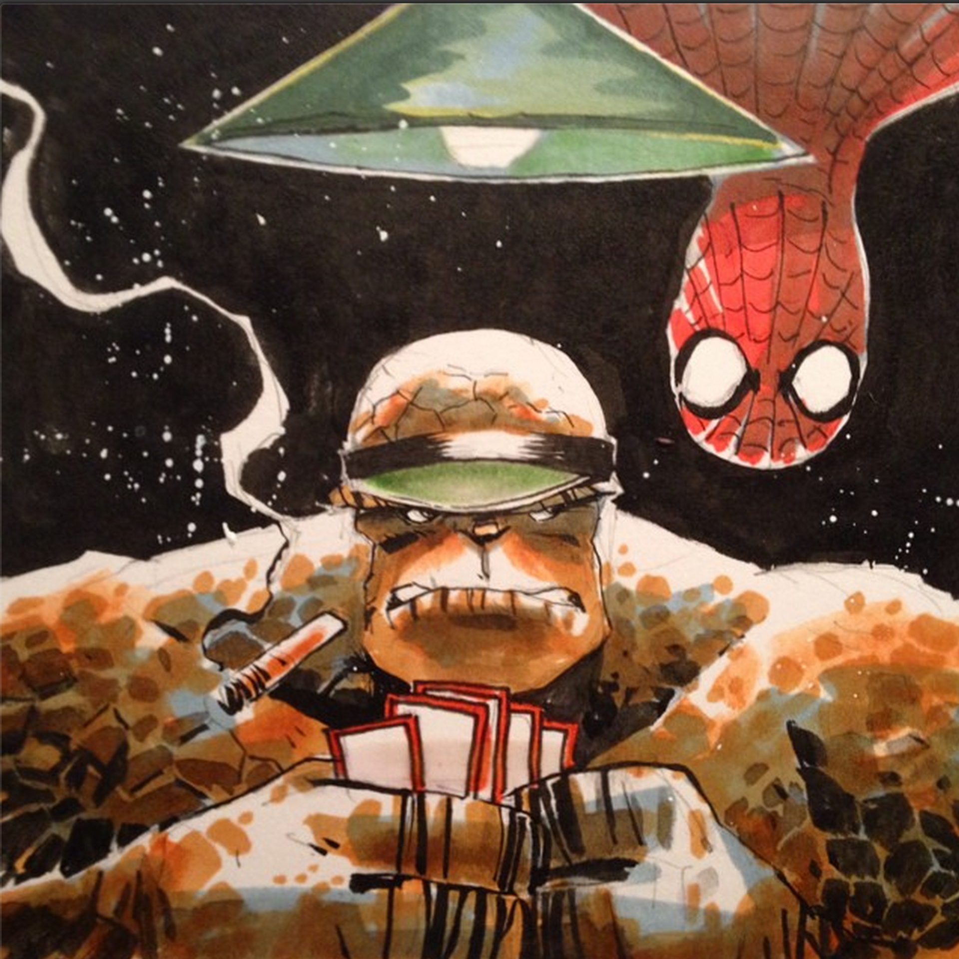 Spider man and the thing by mike henderson fantastic four spider man and the thing by mike henderson voltagebd Images