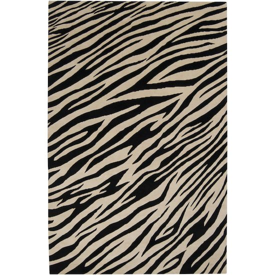 Luxury modern rug in black and white zebra pattern.  Free shipping.