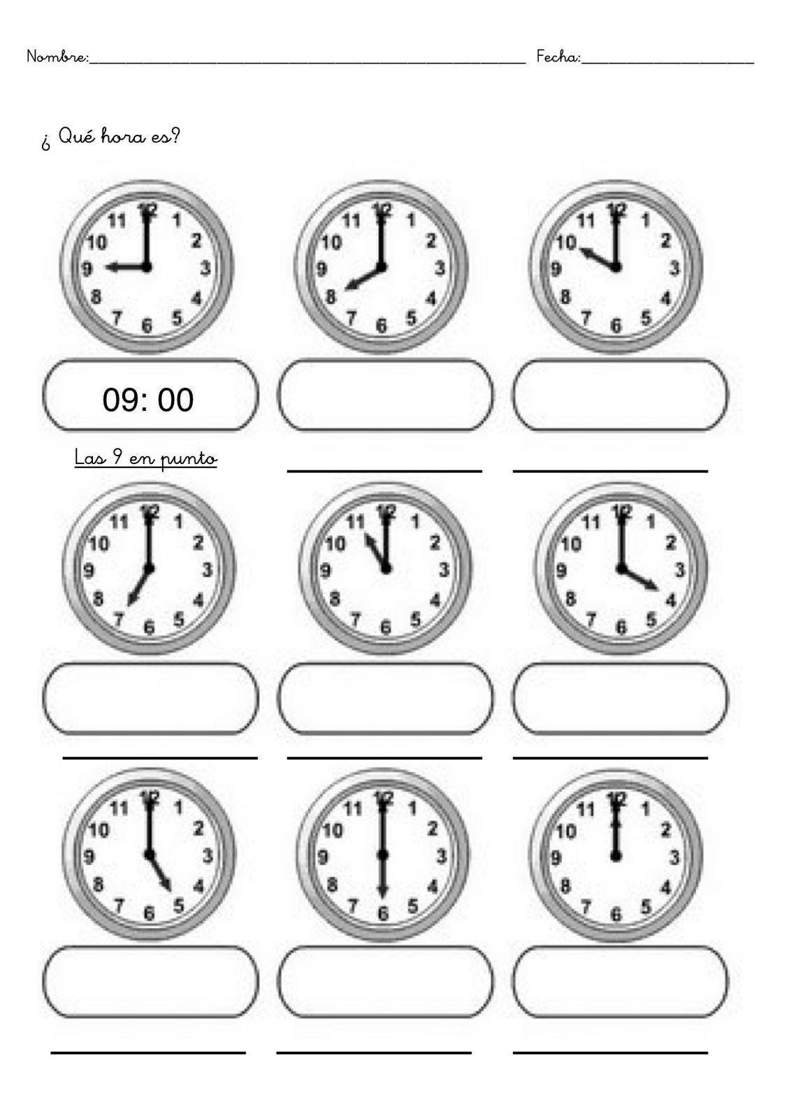 Fichas De Infantil Y Primaria Trabajar Las Horas