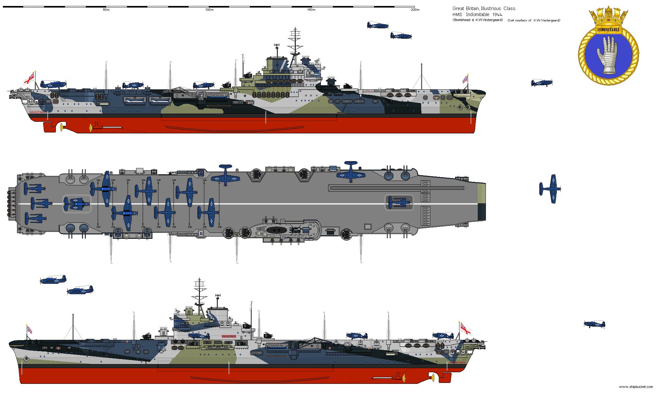 Cv 92 Indomitable 1944 Aircraft Carrier Navy Aircraft Carrier Model Ships
