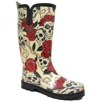 Womens Skull & Roses Ladies Wellies Festival Wellington Rain Boots ...
